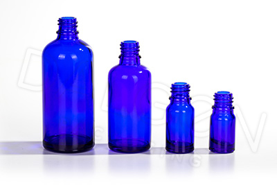 BLUE GLASS HOMEOPATHIC BOTTLES